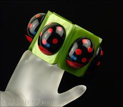 Marie-Christine Pavone Bracelet Ladybug Insect Green Black Galalith Paris France Mannequin Two