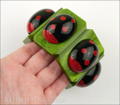 Marie-Christine Pavone Bracelet Ladybug Insect Green Black Galalith Paris France Model