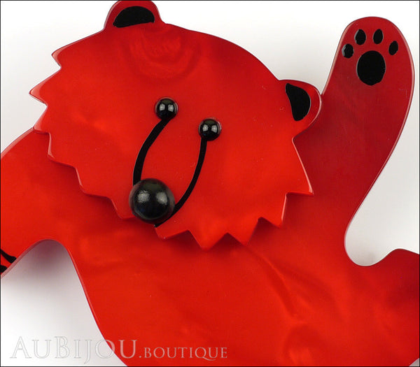 Marie-Christine Pavone Brooch Teddy Bear Red Galalith Paris France Gallery
