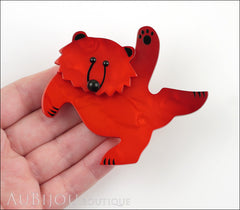 Marie-Christine Pavone Brooch Teddy Bear Red Galalith Paris France Model