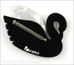 Marie-Christine Pavone Brooch Bird Swan Black White Galalith Back