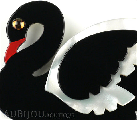 Marie-Christine Pavone Brooch Bird Swan Black White Galalith Gallery