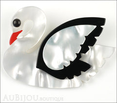 Marie-Christine Pavone Brooch Bird Swan White Black Galalith Front