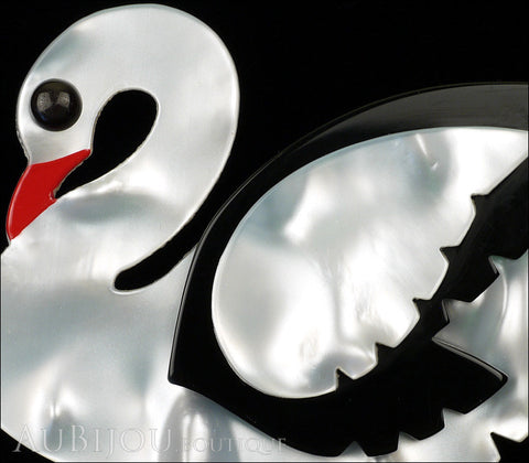 Marie-Christine Pavone Brooch Bird Swan White Black Galalith Gallery