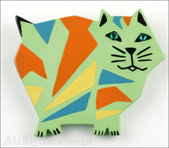 Marie-Christine Pavone Brooch Cat African Green Almond Galalith Limited Edition Front