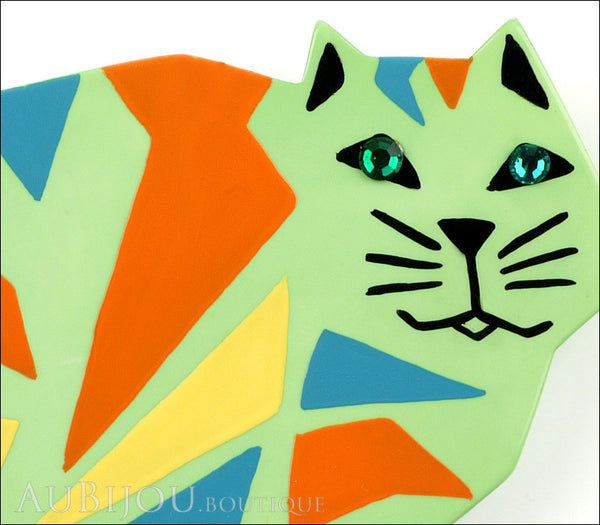 Marie-Christine Pavone Brooch Cat African Green Almond Galalith Limited Edition Gallery