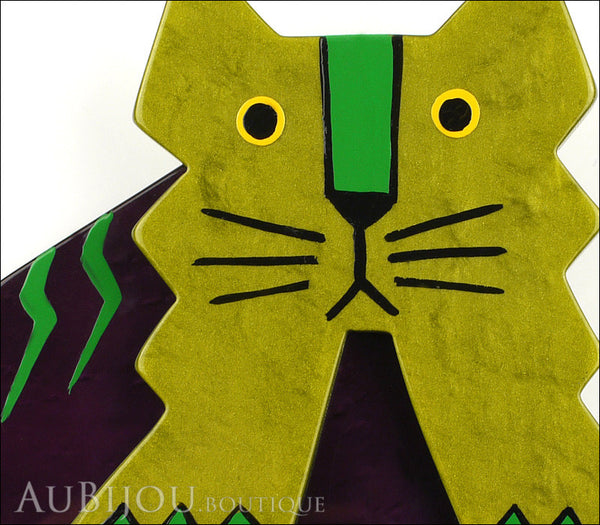 Marie-Christine Pavone Brooch Cat Art Deco Green Purple Galalith Gallery