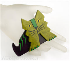 Marie-Christine Pavone Brooch Cat Art Deco Green Purple Galalith Mannequin