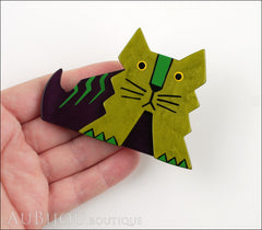 Marie-Christine Pavone Brooch Cat Art Deco Green Purple Galalith Model