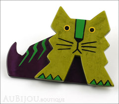 Marie-Christine Pavone Brooch Cat Art Deco Green Purple Galalith Side