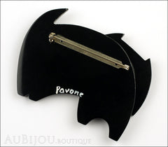 Marie-Christine Pavone Brooch Cat Bandino Black Galalith Back