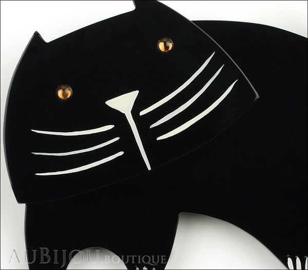 Marie-Christine Pavone Brooch Cat Bandino Black Galalith Gallery