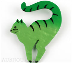 Marie-Christine Pavone Brooch Cat Cello Green Galalith Front