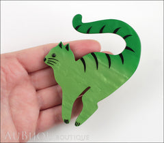 Marie-Christine Pavone Brooch Cat Cello Green Galalith Model