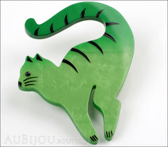Marie-Christine Pavone Brooch Cat Cello Green Galalith Side