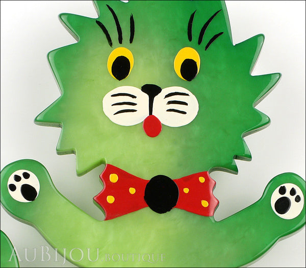 Marie-Christine Pavone Brooch Cat Clown Green Galalith Gallery