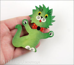 Marie-Christine Pavone Brooch Cat Clown Green Galalith Model