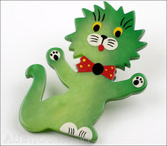 Marie-Christine Pavone Brooch Cat Clown Green Galalith Side
