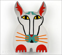 Marie-Christine Pavone Brooch Cat Cotinus Grey Multicolor Galalith Limited Edition Front