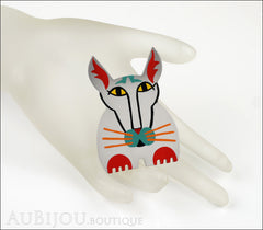 Marie-Christine Pavone Brooch Cat Cotinus Grey Multicolor Galalith Limited Edition Mannequin