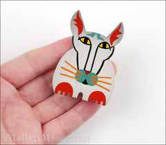 Marie-Christine Pavone Brooch Cat Cotinus Grey Multicolor Galalith Limited Edition Model