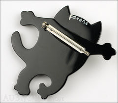 Marie-Christine Pavone Brooch Cat Dancing Black Galalith Back