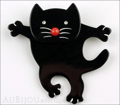 Marie-Christine Pavone Brooch Cat Dancing Black Galalith Front
