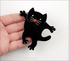 Marie-Christine Pavone Brooch Cat Dancing Black Galalith Model