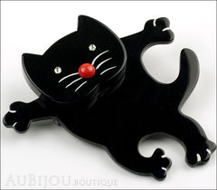 Marie-Christine Pavone Brooch Cat Dancing Black Galalith Side