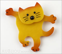 Marie-Christine Pavone Brooch Cat Dancing Yellow Galalith Front
