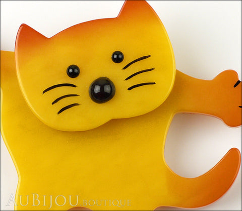 Marie-Christine Pavone Brooch Cat Dancing Yellow Galalith Gallery
