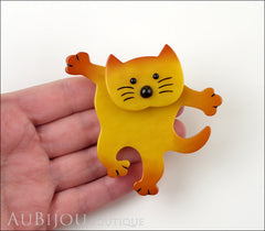 Marie-Christine Pavone Brooch Cat Dancing Yellow Galalith Model