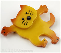 Marie-Christine Pavone Brooch Cat Dancing Yellow Galalith Side