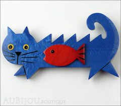 Marie-Christine Pavone Brooch Cat Fish Blue Red Galalith Front