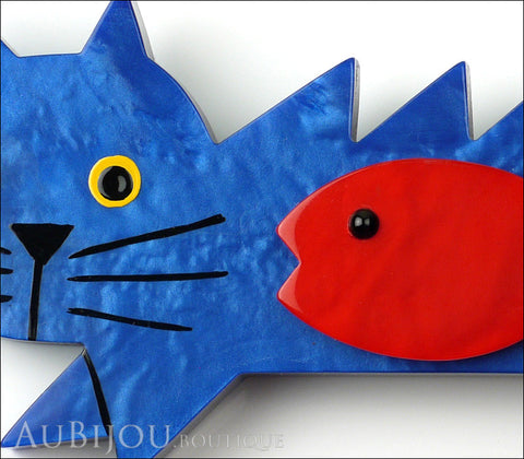 Marie-Christine Pavone Brooch Cat Fish Blue Red Galalith Gallery