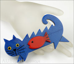 Marie-Christine Pavone Brooch Cat Fish Blue Red Galalith Mannequin