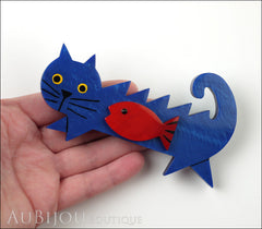 Marie-Christine Pavone Brooch Cat Fish Blue Red Galalith Model