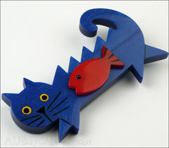 Marie-Christine Pavone Brooch Cat Fish Blue Red Galalith Side