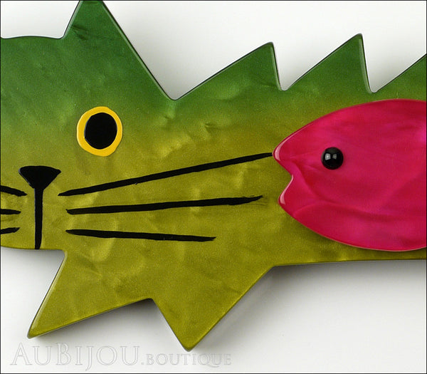 Marie-Christine Pavone Brooch Cat Fish Green Purple Galalith Gallery