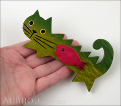 Marie-Christine Pavone Brooch Cat Fish Green Purple Galalith Model