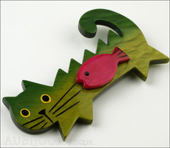 Marie-Christine Pavone Brooch Cat Fish Green Purple Galalith Side