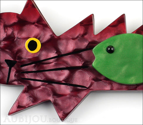 Marie-Christine Pavone Brooch Cat Fish Purple Green Galalith Gallery