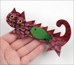 Marie-Christine Pavone Brooch Cat Fish Purple Green Galalith Model