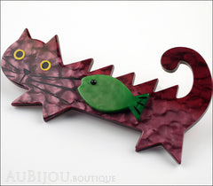 Marie-Christine Pavone Brooch Cat Fish Purple Green Galalith Side