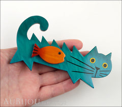 Marie-Christine Pavone Brooch Cat Fish Turquoise Blue Galalith Paris France Model