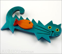 Marie-Christine Pavone Brooch Cat Fish Turquoise Blue Galalith Paris France Side