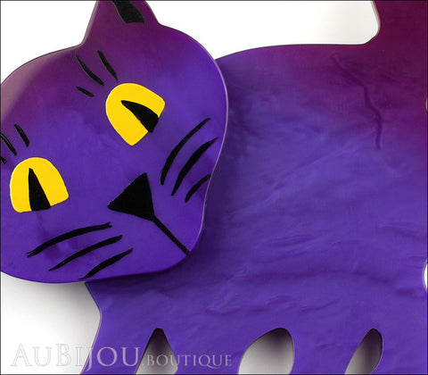 Marie-Christine Pavone Brooch Cat Ebahi Dark Purple Galalith Paris France Gallery