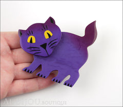 Marie-Christine Pavone Brooch Cat Ebahi Dark Purple Galalith Paris France Model
