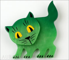 Marie-Christine Pavone Brooch Cat Flabbergasted Green Galalith Front