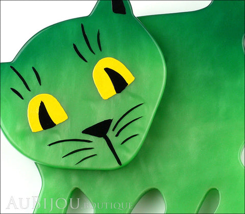 Marie-Christine Pavone Brooch Cat Flabbergasted Green Galalith Galery